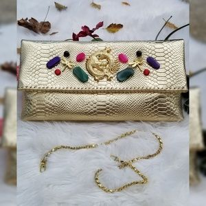 Gold Metallic Croco Stamped Large Party Clutch Bag